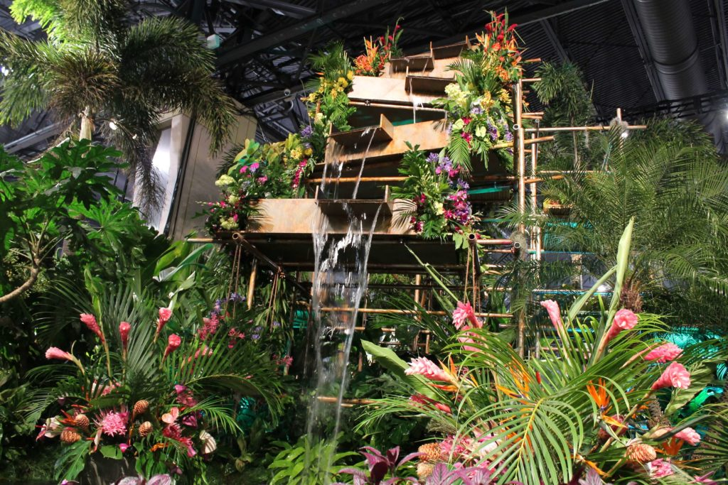 a detailed family guide to the Philadelphia flower show waterfall