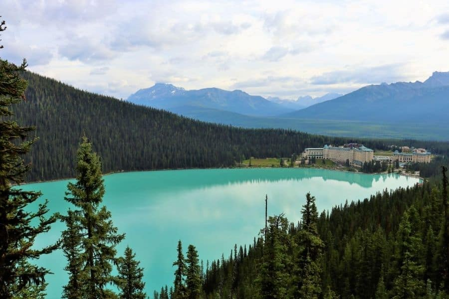 View of Chateau Fairmont Lake Louise from the Fairview Lookout Trail Banff Canada